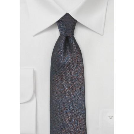 Trendy Silk Skinny Tie in Blue and Copper