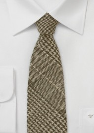 Wool Tweed Tie in Brown