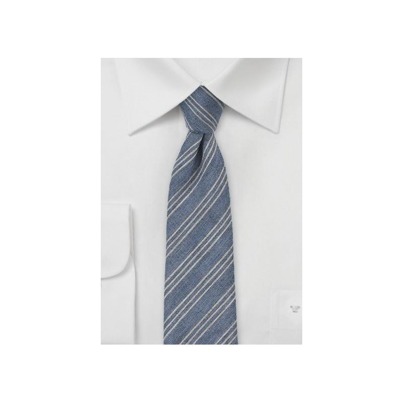 Denim Blue Striped Winter Tie