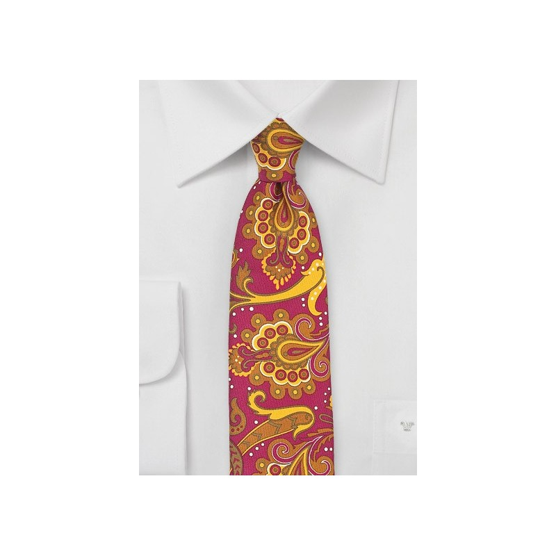 Bold Skinny Paisley Tie in Pink and Gold
