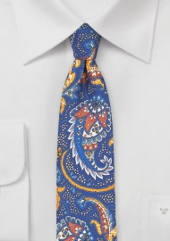 Blue and Orange Paisley Skinny Tie