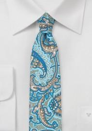 Skinny Paisley Silk Tie in Aqua and Gray