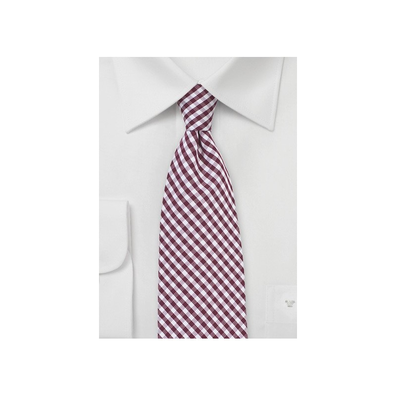 Gingham Necktie in Burgundy