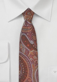 Skinny Paisley Tie in Copper and Brown