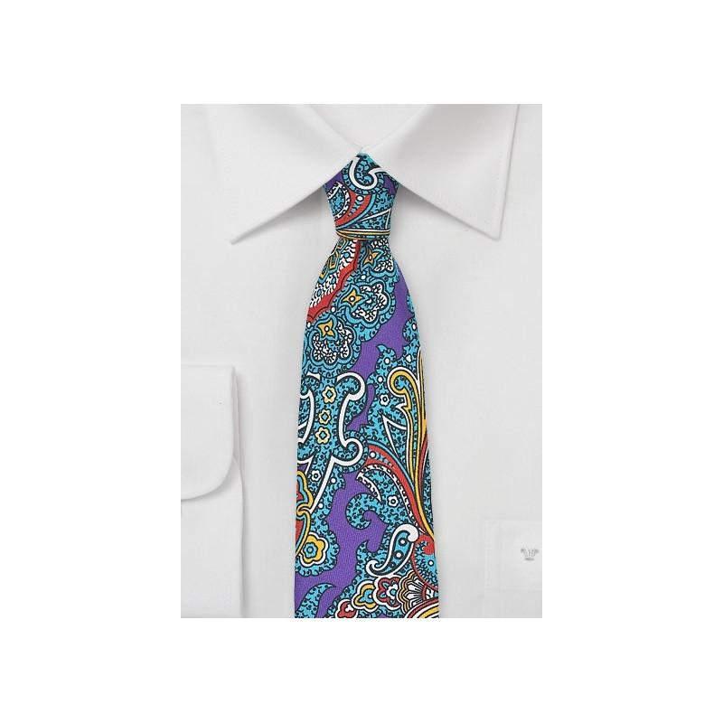 Colorful Spanish Paisley Silk Tie in Purple