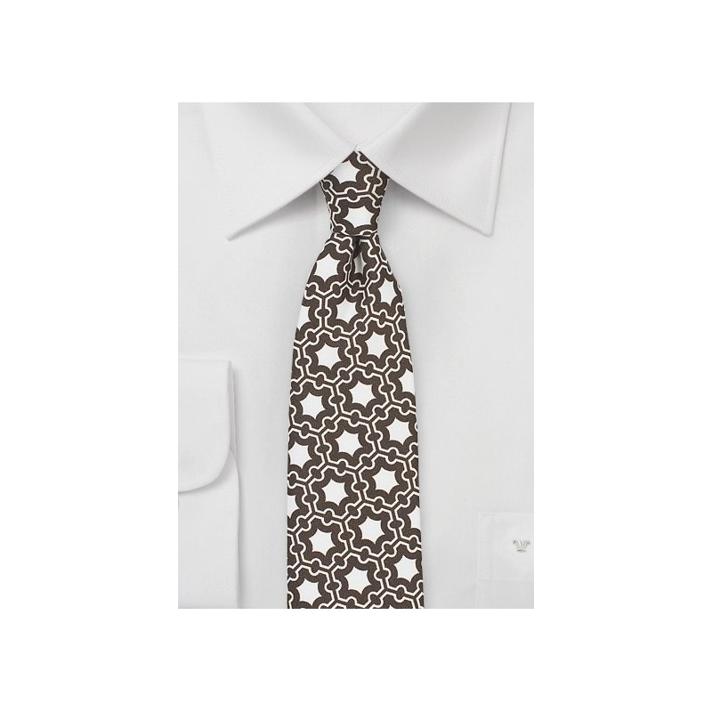 MOD Print Silk Tie in Brown and White