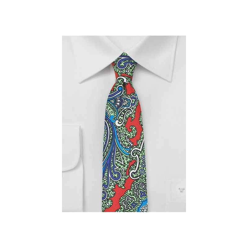 Colorful Skinny Paisley Silk Tie in Orange, Green, Blue