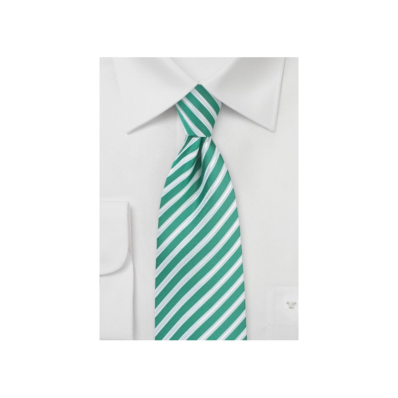 Striped Tie in Sea Green