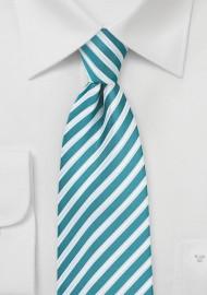Striped Necktie in Tile Blue