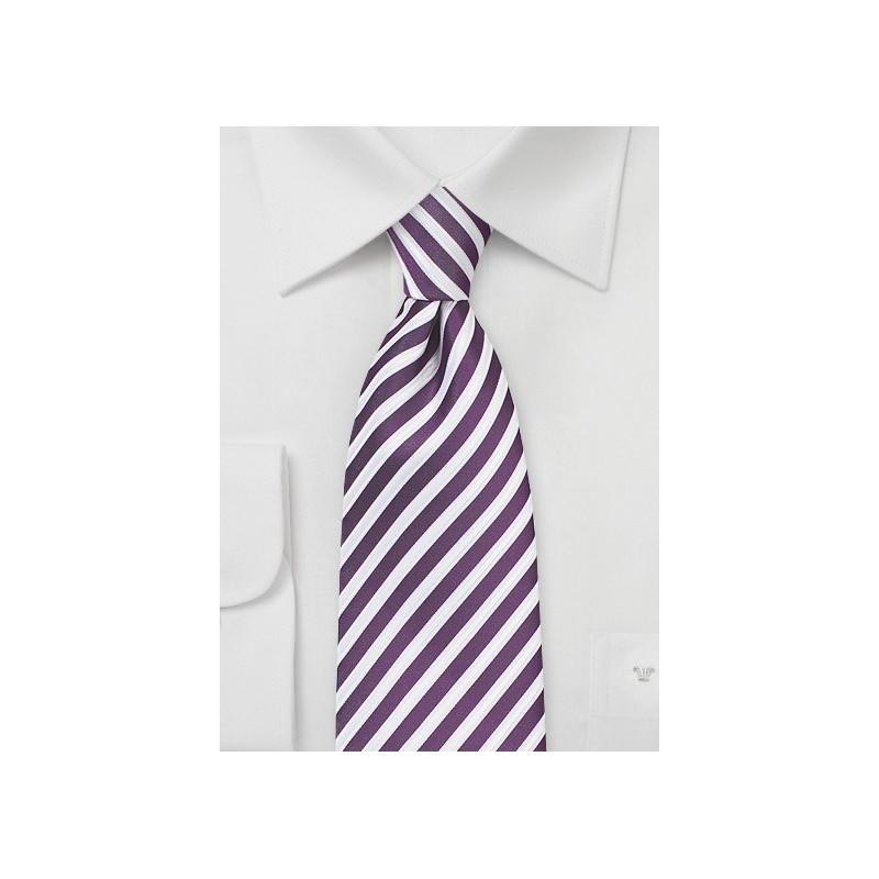 Grape Purple and White Striped Tie