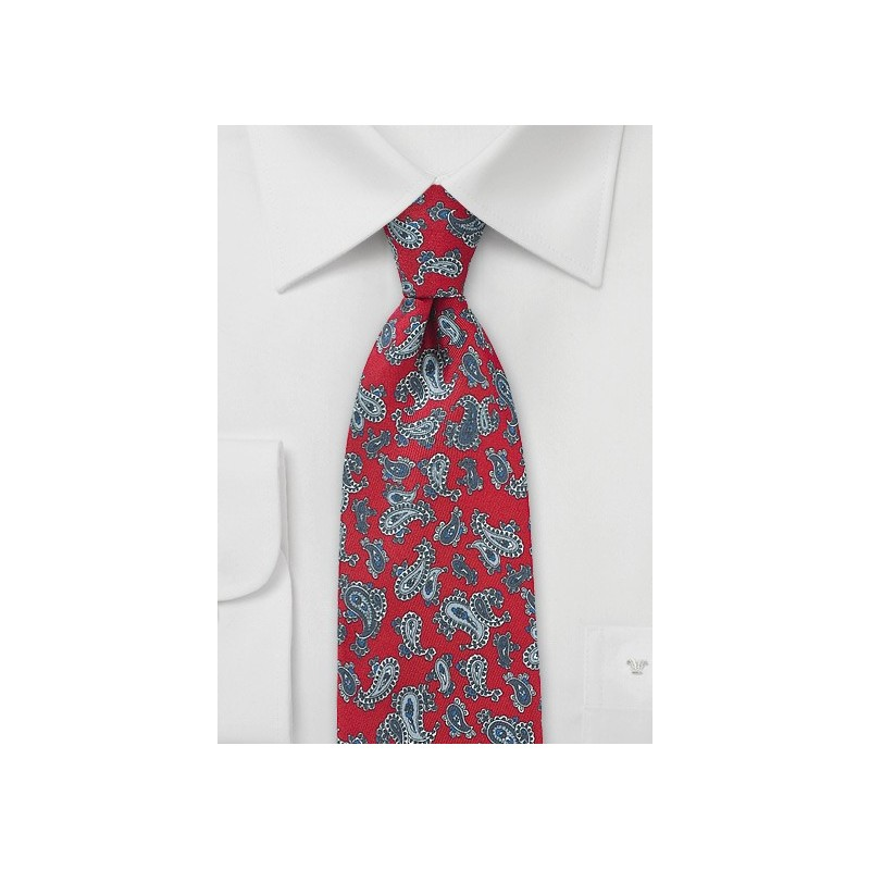 Elegant Red and Gray Paisley Silk Tie