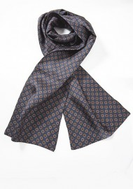 Mens Silk Scarf with Retro Print