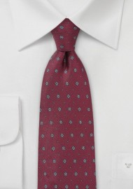 Men's Designer Silk Tie in Maroon red