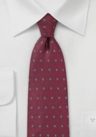 Men's Designer Silk Tie in Maroon red
