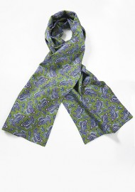 Elegant Green and Blue Paisley Silk Scarf