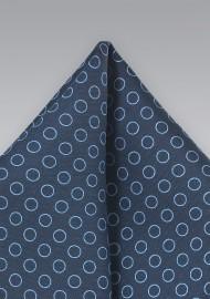 Navy and Light Blue Circle Pattern Pocket Square