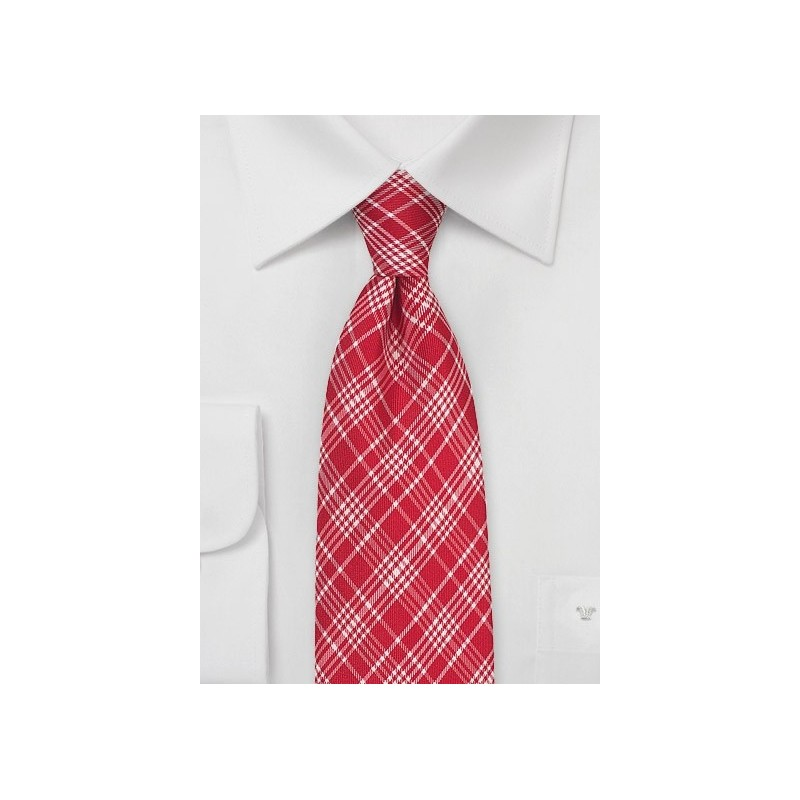 Bright Red Check Silk Tie