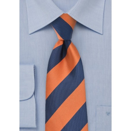 Wide Striped Tie in Orange and Navy
