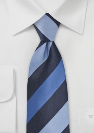 Wide Striped Tie in Blue Tones