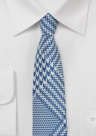 Bold Glen Check Skinny Tie in Bright Blue and Silver
