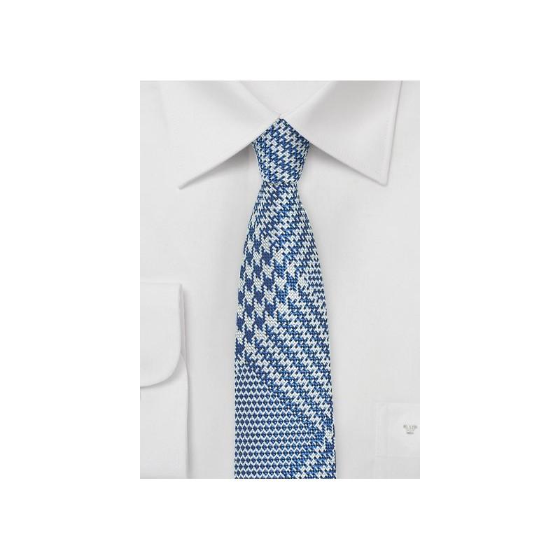 Bold Glen Check Skinny Tie in Bright Blue and Silver