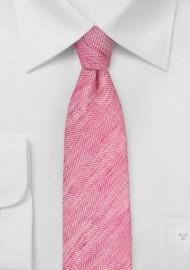 Skinny Linen Tie in Azalea Pink