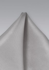 Solid Silver Gray Silk Pocket Square