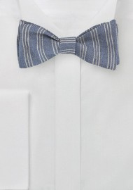 Tripe Striped Bow Tie in Denim Blue