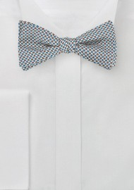 Geometric Print Silk Bow Tie in Silver and Blue
