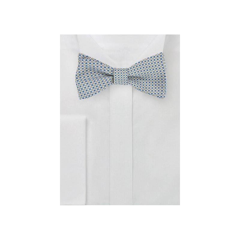 Geometric Print Silk Bow Tie in Blue, White, Yellow