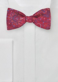 Italian Silk Paisley Bow Tie in Bright Red