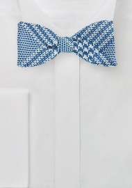 Prince of Wales Check Bow Tie in Bright Blue