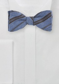 Striped Wool Bow Tie in Blue and Brown