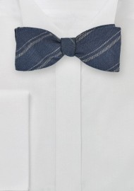 Elegant Linen Bow Tie in Navy and Gray