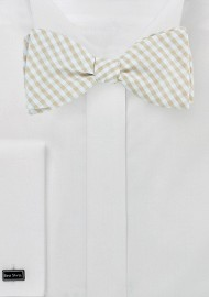 Tan and Beige Gingham Bow Tie