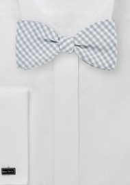 Silver and White Micro Check Bow Tie