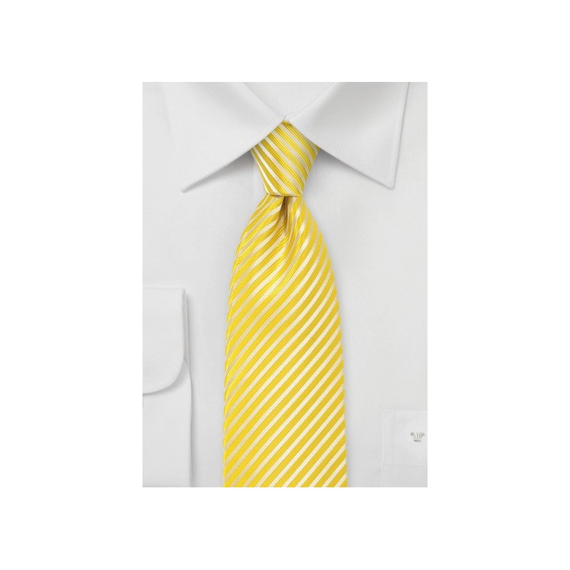 Bright Yellow Striped Tie in XL Length