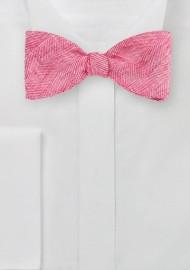 Linen Bow Tie in Azalea Pink