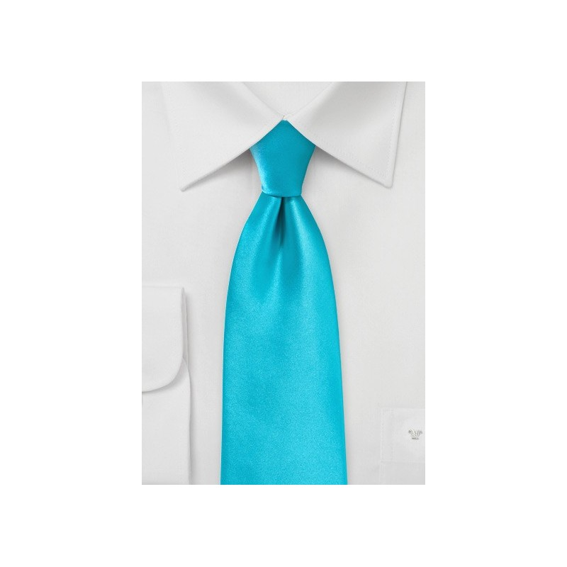 Bright Aqua Colored Tie in Extra Long Length