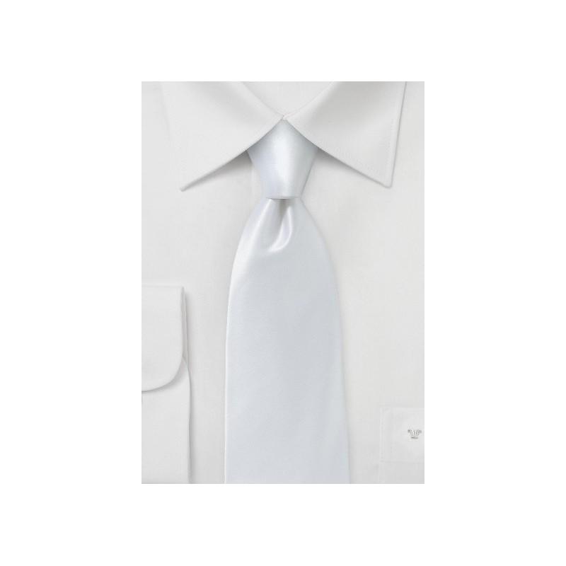 Solid White Silk Tie in Modern Narrow Width