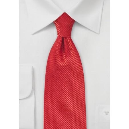 Bright Red Textured Silk Tie in XL