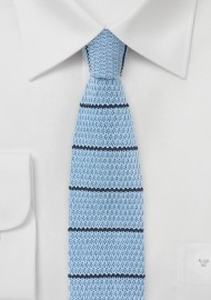 Light Blue Knit Tie with Navy Stripes