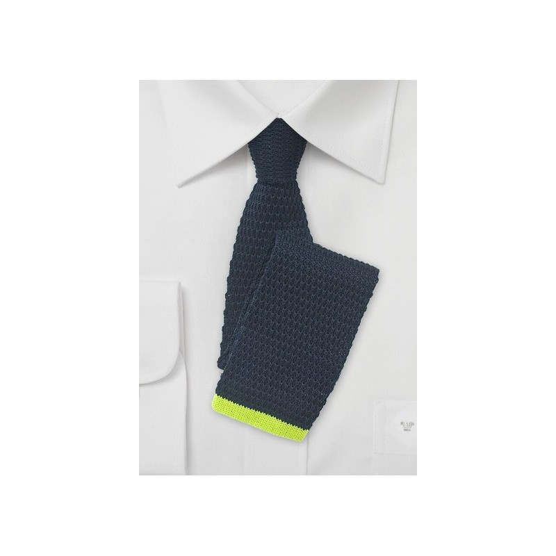 Navy Blue Knit Tie with Lime Green Tip