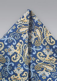Summer Paisley Pocket Square in Blue and Yellow