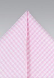 Pink Gingham Pocket Square
