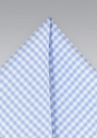 Sky Blue Gingham Check Pocket Square