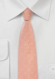 Dotted Tie in Peach Coral
