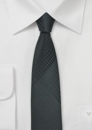 Geometric Plaid Skinny Tie in Gray and Black