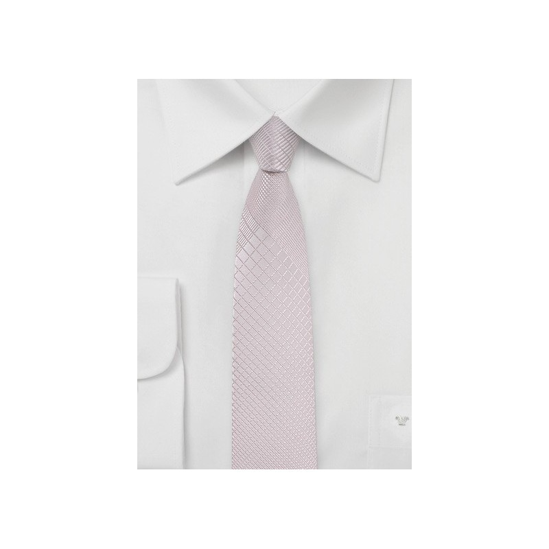 Soft Blush Hued Plaid Tie in Skinny Width