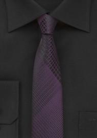 Black and Purple Skinny Tie with Modern Plaid Design